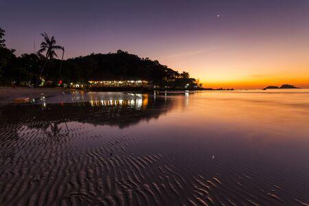 Romantic Evening on a tropical island with night illumination. T