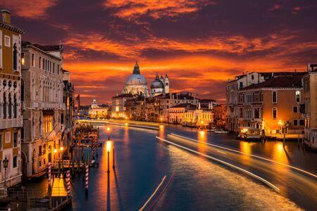 Grand Canal and Basilica Santa Maria della Salute, Venice, Italy.