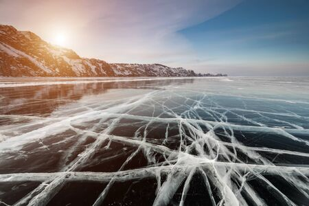 Ice patterns on Lake Baikal. Siberia, Russia Banco de Imagens