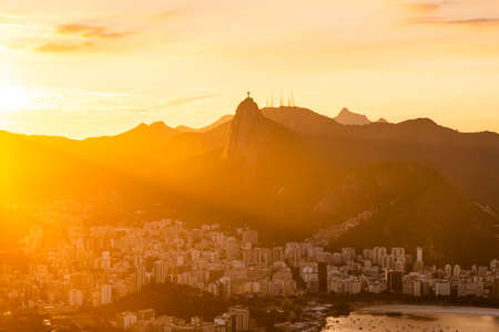 Beautiful panorama of Rio de Janeiro at sunset, Brazil. Sugarloaf Mountain