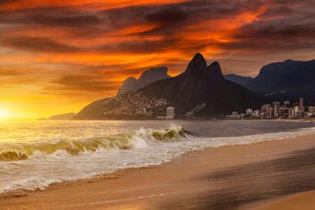 Sunset on the ocean at Rio de Janeiro, Ipanema beach. Brazil. Stock Photo