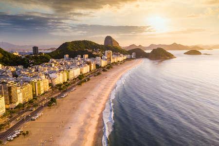 Panorama of Rio de Janeiro at sunset, Brazil. Copacabana beach at sunset. Rio de Janeiro