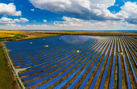 Solar panel on a background of a beautiful blue sky. Green energy concept