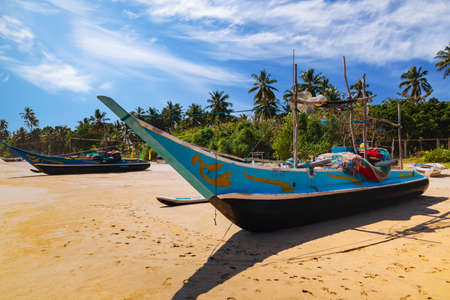 Traditional fishing boats on a sandy beach. Sri Lanka