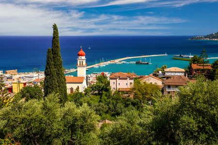 Summer view of Zakynthos Zante town. Beautiful cityscape panorama of Greece city.
