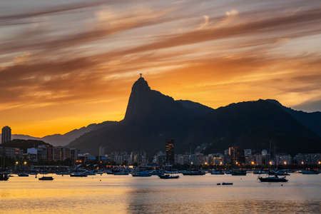 Beautiful panorama of Rio de Janeiro at sunset, Brazil. Stock Photo