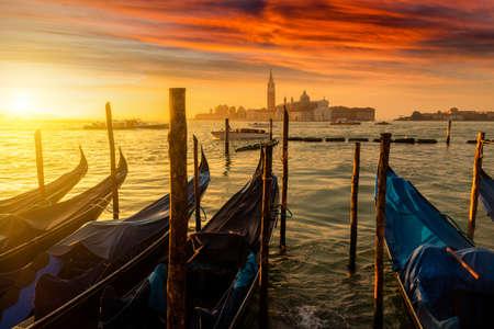 Venice gondolas on San Marco square, Venice, Italy. Venice Grand Canal. Architecture and landmarks of Venice