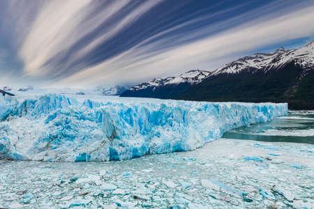 Blue ice Perito Moreno Glacier. Patagonia. Argentina.