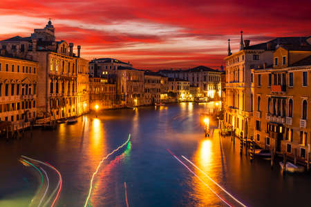 Grand Canal and at sunset, Venice, Italy Stock Photo