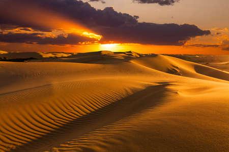 Beautiful sunset over the sand dunes in the Arabian Empty Quarter Desert, UAE. Rub al Khali