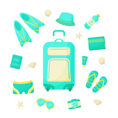 Set of things for a vacation at sea. Ð¡ollection summer travel items for man. Vector illustration.