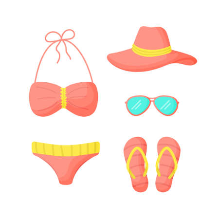 Set of things for a vacation at sea. Ð¡ollection summer travel items for woman. Swimsuit, glasses, flip-flops, hat Vector illustration.