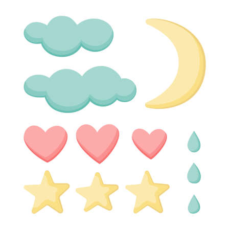 A set of clouds, hearts, stars, drops and moon. Isolated on a white background. Collection for cute design. Vector illustration.Great for  greeting cards, postcards, stickers, banners.