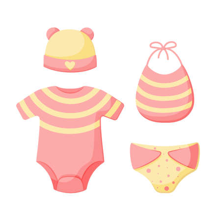 A set of things for a newborn isolated on a white background. Collection for girls in pink and yellow. Cap, bodysuit, bib, panties. Vector illustration. Great for greeting cards, postcards, stickers.