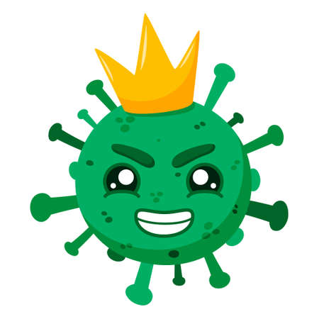 Green coronavirus with a crown. Covid-19. Funny cartoon character with emotion. Smirk, anger, arrogance. Vector illustration isolated on a white background. EPS10