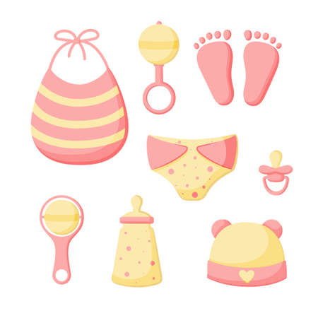 A set of things for a newborn isolated on a white background. Collection for girls. Cap, bib, panties, rattles, bottle, pacifier, footprints . Vector illustration. Great for greeting cards, stickers. EPS10.