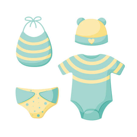A set of things for a newborn isolated on a white background. Collection for boys in blue and yellow. Cap, bodysuit, bib, panties. Vector illustration. Great for greeting cards, postcards, stickers. EPS10. Illustration
