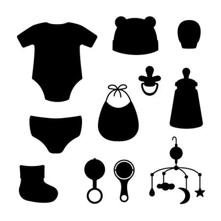 Cap, bib, panties, clacks, bottle, pacifier, sock, mitten, mobile for crib, bodysuit. Black silhouette isolated on white background. Vector illustration. Great for greeting cards postcards stickers EPS10