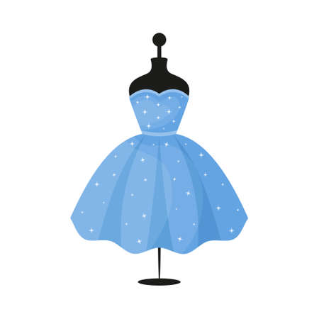 Voluminous blue beautiful dress on a mannequin. The symbol can be used as an icon, logo, or design element. Vector illustration. Illustration
