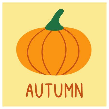 Cute lettering autumn with pumpkin. Autumn card design. Banner, poster. Hand drawn vector illustration. Иллюстрация