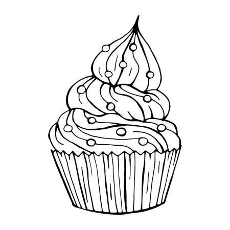 Hand drawn New year cakes. Christmas deserts on white background. Black and white sketch. Vector illustration. Vektoros illusztráció