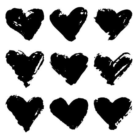 Collection of black grunge paint heart. Set of brush strokes isolated on white background. Vector illustration.