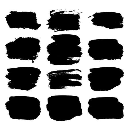 Collection of black grunge paint strokes. Brush strokes isolated on white background. Vector illustration.