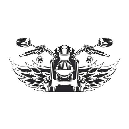 Sketch motorcycle with wings monochrome  illustration
