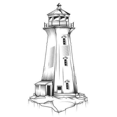 Isolated illustration of old lighthouse. Hand drawn  illustration.