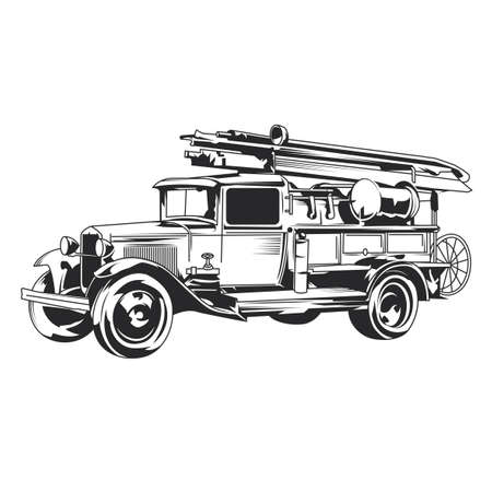Isolated vintage fire truck hand drawn illustration. Vectores