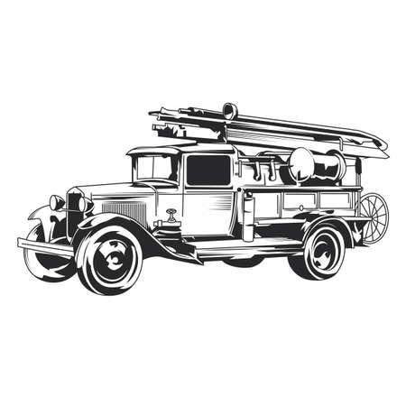 Isolated vintage fire truck hand drawn illustration. Stock Illustratie