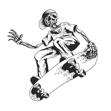 Geïsoleerde illustratie van skeleton het spelen skateboardillustratie Stock Illustratie
