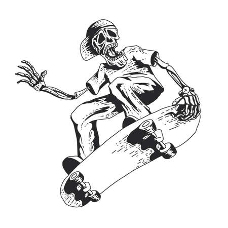 skateboard park: Isolated illustration of skeleton playing skateboard  illustration