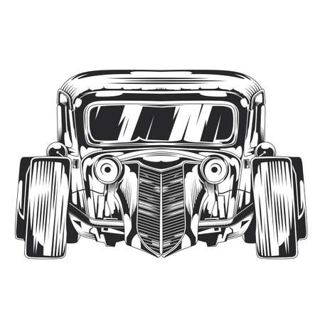 Isolated illustration of custom hot rod. Hand drawn illustration. Иллюстрация