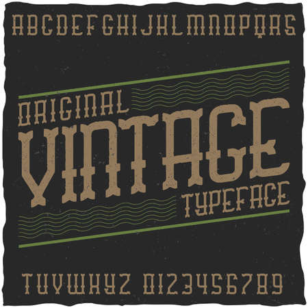 gothic style: Vintage label font with sample label design. Good to use in any retro design labels. Illustration