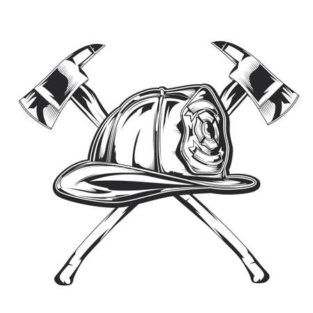 Illustration of firefighter equipment - helmet with two axes.