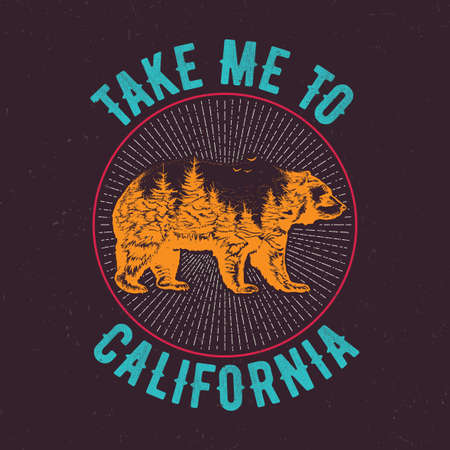 Take me to California t-shirt label design with illustration of bear silhouette. Hand drawn double exposure illustration.