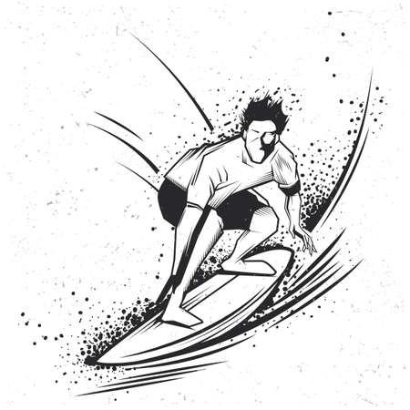Surfing t-shirt label design with illustration of surfing man Illustration