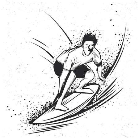 Surfing t-shirt label design with illustration of surfing man Ilustração
