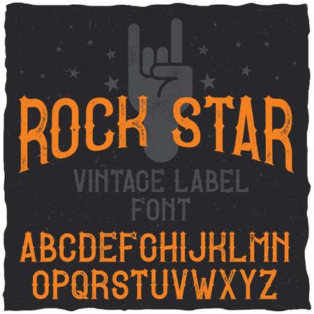 Vintage label typeface named Rock Star. Good font to use in any vintage labels Ilustração