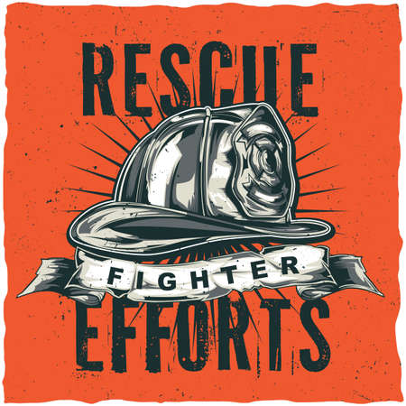 Firefighter t-shirt label design with illustration of helmet with Crossed Axes. Hand drawn illustration.