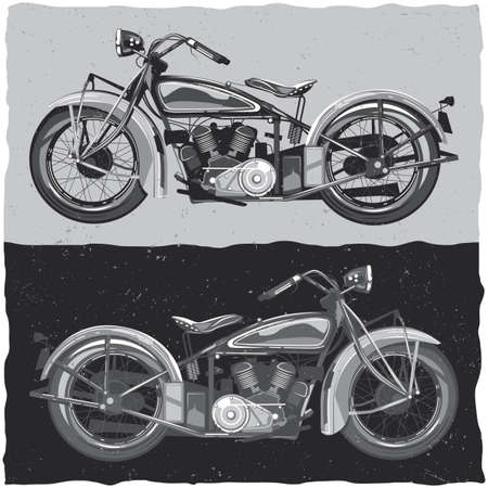 racing: Motorcycle t-shirt label design with illustration of classic motorcycle Illustration