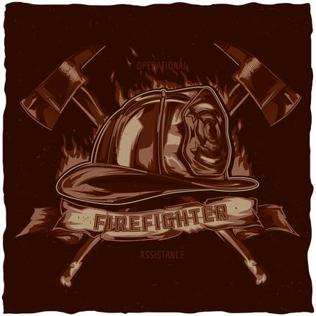 firefighters maltese cross: Firefighter t-shirt label design with illustration of helmet with Crossed Axes. Hand drawn illustration.