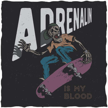 Skateboard t-shirt label design with illustration of skeleton playing skateboard. Hand drawn illustration. Vettoriali