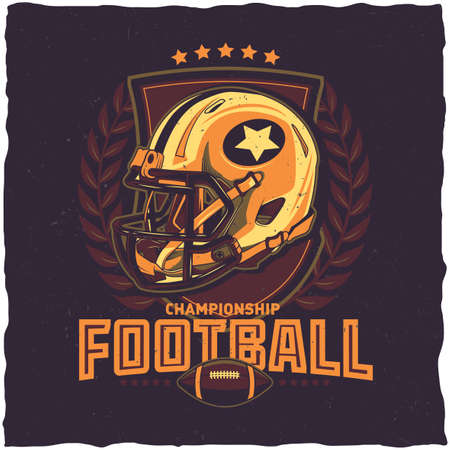 American football t-shirt label design with illustration of football helmet Vectores