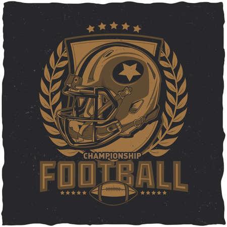 boyish: American football t-shirt label design with illustration of football helmet Illustration