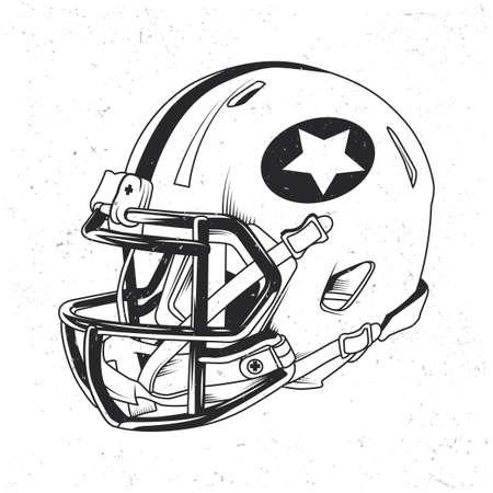 American football t-shirt label design with illustration of football helmet Illustration