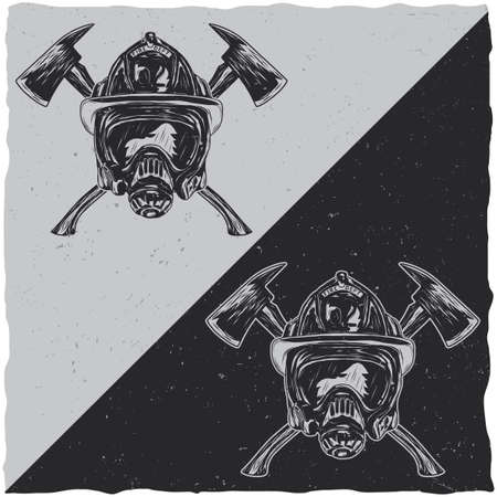 Illustration of helmet with Crossed Axes on dark and light backgrounds