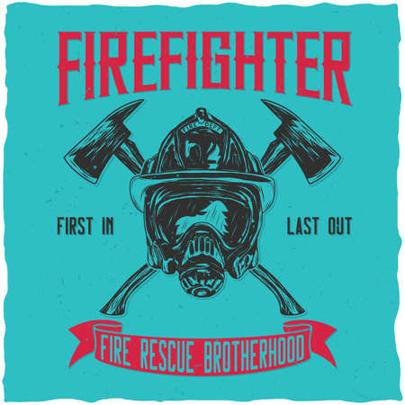 Firefighter t-shirt label design with illustration of helmet with Crossed Axes Illustration