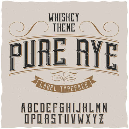 Label font and sample label design with decoration. Vintage font, good to use in any vintage style labels of alcohol drinks - absinthe, whiskey, gin, rum,  bourbon etc. Иллюстрация